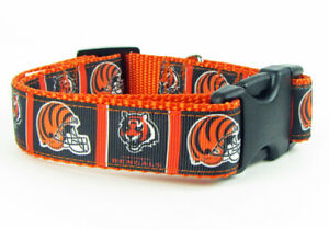 "Bengals dog collar handmade adjustable buckle collar football 1"" wide or leash"