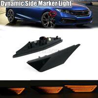 Pair Dynamic Smoked LED Side Marker Turn Signal Light For HONDA CIVIC 2016-2021
