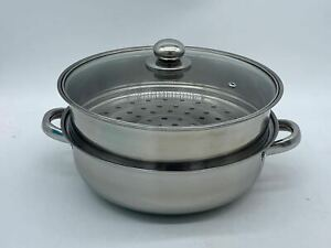 28CM Stainless Steel Steamer Meat Vegetable Cooking Steam Pot Kitchen Tool