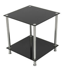 Black Glass Square Side Table Gloss Coffee End Lamp Table with Chrome Metal Legs