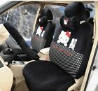 *** 17 Piece Super Soft Black Hello Kitty and Bunny Car Seat Covers ***