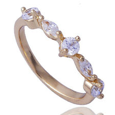 Pretty Womens Yellow Gold Filled clear crystal Stone Ring From China Size 6