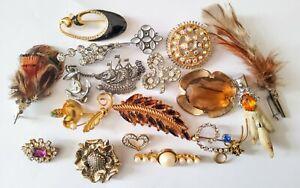 Job lot of vintage costume jewellery brooches Miracle Mizpah Scottish etc
