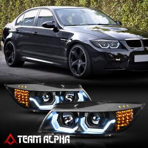 Fits 2006-2008 BMW E90 {F30 Style 3D HALO/LED SIGNAL} Black Projector Headlight