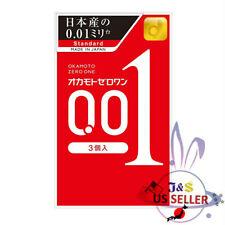 ♪Japan Okamoto Zero One 001 Thin 0.01 mm Condom Regular Size 1box/3pcs-US Seller