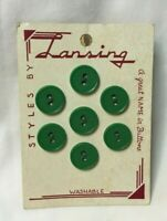 """*Vintage Button Card LANSING 7 Green Plastic Buttons 5/8""""     #16"""