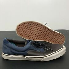 Vans Off the Wall Men's Size 12 TC6D Brown Leather Blue Canvas Skateboard Shoes