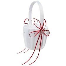 Double Heart Wedding Flower Girl Basket White Satin Rhinestone Decor Pink W I5I1