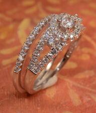 White Gold Finish Engagement Ring / Wedding Band Bridal Set For Her 2 pc size 8