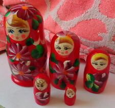 """Red flowers Wood Hand painted Russian Nesting Doll 5 Pcs 4.5"""" #2S"""