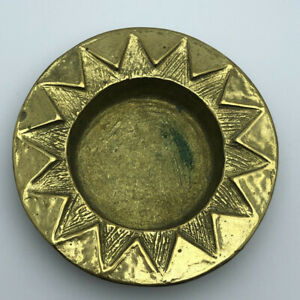 """Hand-engraved  """"Sun plate""""  Made By Bronze/ Vintage Tray Dishe Unfound piece"""