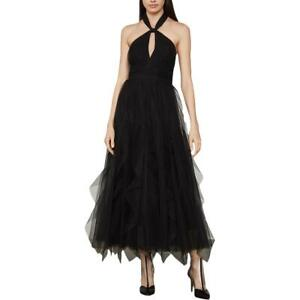 BCBG Max Azria Women's Tulle Tie-Neck Sleeveless A-Line Keyhole Gown