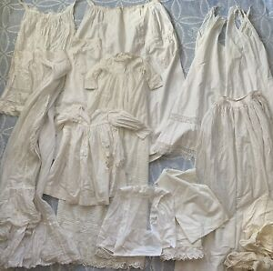 Antique White Cotton Clothing/Fabric Scrap Lot Lace Salvage Cutter Victorian