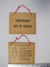Antique 3 coin Pay Phone Payphone Public Telephone Out Of Service Hanging Sign