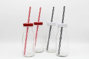 300ml Glass Mini Vintage Milk Bottles with Lids & Straws - 4 6 8 12 24 36