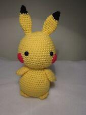 "Handmade Amigurumi Crochet Pikachu 9"" plush cute pokemon doll"