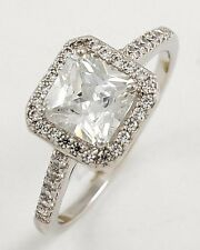 2ct Rhodium wgp Contemporary Designer Flawless Clear CZ Engagement Ring Sz 6