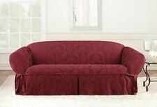 Sofa Chili red Matelasse Damask One Piece Slipcover slip cover sure fit