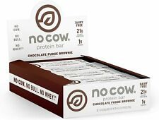 No Cow Protein Bars Chocolate Fudge Brownie 21g Plant Protein (12 pk) BBD 03/21