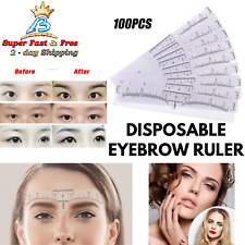 100 Disposable Eyebrow Ruler Adhesive Microblading Stencil Sticker Brow Template