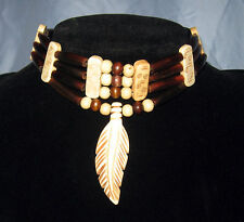 Handmade Native American Amber Horn Hairpipe Bone Feather Choker Necklace NWOT