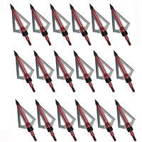 12/24pcs Archery Broadheads 100 grain 3-blade hunting Arrow Heads Screw Tips US