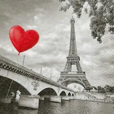 20x Carta Pranzo Tovaglioli Decoupage. CITY OF LOVE. Parigi, Black & White, Cuore - 502P