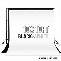 10 x 10 ft Photography Backdrop Stand Background Photo Kit Muslin Black& White