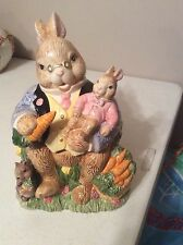 Fitz & Floyd Large Cookie Jar Rabbit Bunny Carrots 1993 Date On Bottom Has Glass