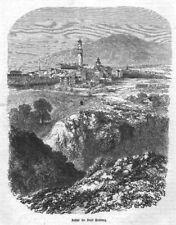 """Bad Homburg """"Ansicht von Bad Homburg"""" Original Holzstich von 1858"""