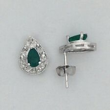 Natural Emerald with Natural Diamond Cluster Earrings Solid 14kt White Gold