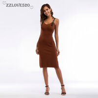 Women Bodycon Slim Short Midi Dress Evening Cocktail Party
