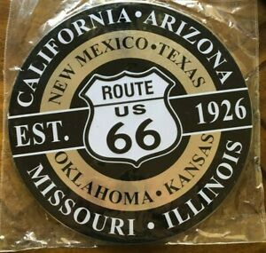 "US Route 66 Est. 1926 ~12"" Metal Round Sign ~~ Garage, Mancave, Embossed"