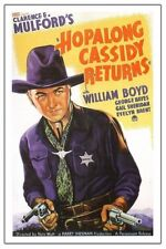 "HOPALONG CASSIDY RETURNS -  VINTAGE WESTERN MOVIE POSTER 12"" X 18"""