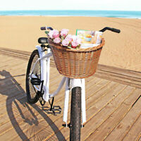 Retro Bike Bicycle Baskets Front Wicker Handlebar Cargo Box Shopping Camping USA