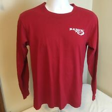 MR Ducks Mens T-shirt Red Long Sleeve Double Sided Small 100% Cotton Free Ship!