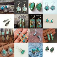 Vintage 925 Silver Turquoise Gems Women Wedding Engagement Earrings Drop Dangle