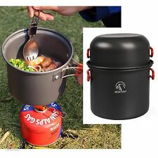 Camping Cookware Set Lightweight Kit Aluminum Cookset Equipment Hiking Outdoor