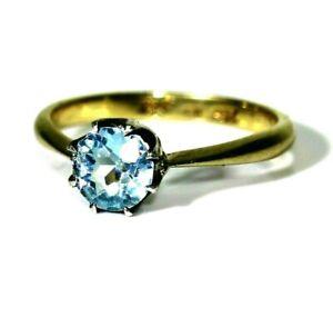 Edwardian 9ct 9k Gold Old Cut Blue Paste Ring Size 5 3/4 - L