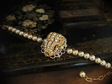 Vintage Bracelet Pearl and Crystal with Adjustable Chain