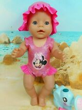 """Dolls clothes for 17"""" Baby Born Doll~MINNIE MOUSE PINK SWIMMING COSTUME~SUN HAT"""