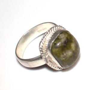 Unakite GemStone 925 Silver Overlay Handmade Ring Size 6.25 US MR21-1