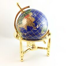 Lapis Original Gem Globe with Gold Plated Brass Stand 6.5 inches tall Unused