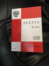 LANCIA FULVIA COUPE SPORT 1.3S/HF 2nd SERIE manuale di istruzioni LIBRO MANUALE