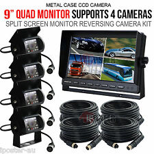 "9"" Quad Monitor Truck Reversing Security SYSTEM 4x 4Pin CCD Camera+Long Bracket"