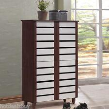 18 Pair Shoe Cabinet Rack Storage 6 Shelf Modern Closet Dresser 4 Doors Entryway