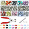 100/200 Sets Metal Sewing Buttons Hollow Prong Press Studs Snap Fasteners Plier