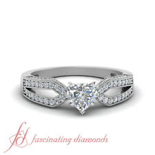 .75 Carat Heart Shape Diamond Milgrain Split Shank Pave Engagement Ring FLAWLESS