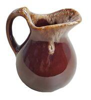 "Brown Drip Glaze Pitcher Creamer Vase Stoneware Pottery Primitive 4.6"" Tall"