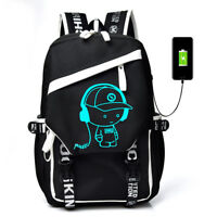 Night Luminous Backpack Boys Girls USB Charging Bookbag School Bag Shoulder Bags